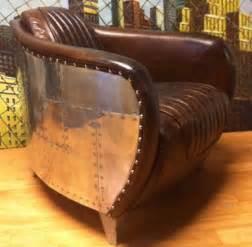 fauteuil club aviateur en cuir marron vintage furnitures design vintage