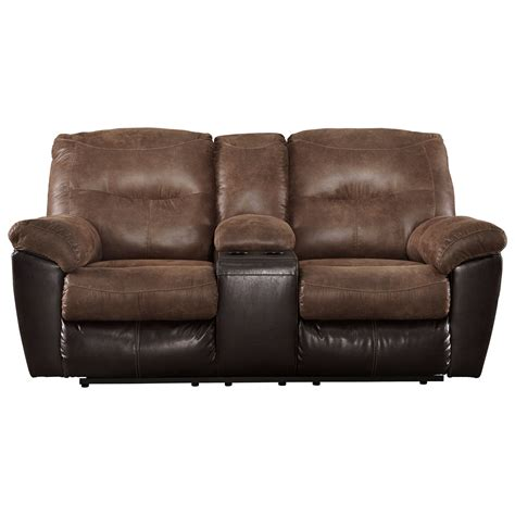Twotone Faux Leather Double Reclining Loveseat W Console