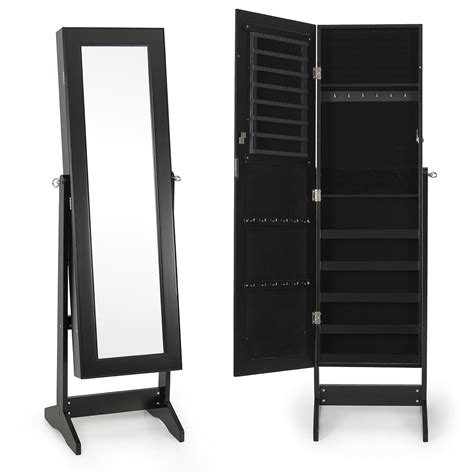new mirrored jewelry cabinet mirror w stand organizer armoire storage ring set