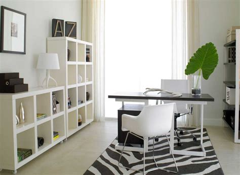 Modern Home Office Design With Black And White Desk Home