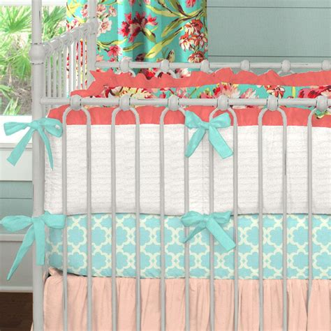 coral and teal floral crib bumper carousel designs