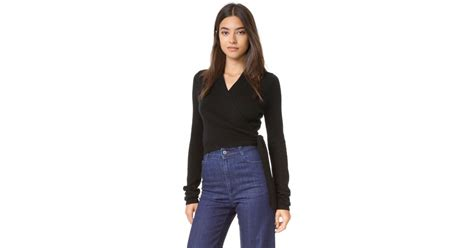 Equipment Shaylin Cropped Wrap Sweater In Black