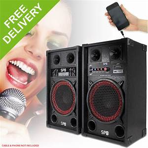 "SPB 10"" Active Powered Red Cone PA Speakers Disco Party DJ ..."