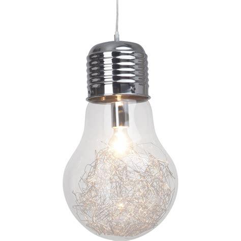 suspension pop bulb verre transparent 1 x 60 w brilliant leroy merlin