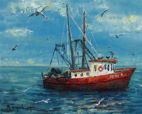 Fishing Boat Art by Fishing Boat Painting By Alexei Biryukoff
