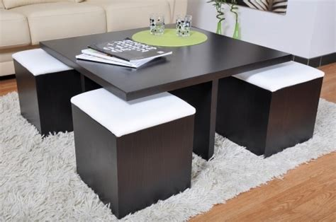 table basse carr 233 weng 233 et 4 poufs decoration places poufs and tables