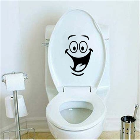 free shipping smiley toilet sticker wall mural decor bathroom wc sticker in wall