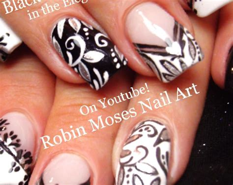 41+ Black And White Flower Nail Designs