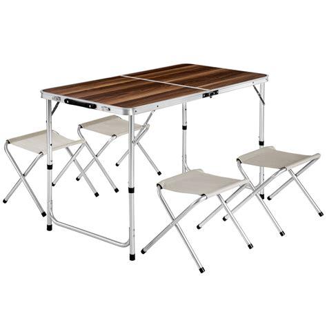 eensemble table pliante valise avec 4 tabourets cing aluminium pique nique