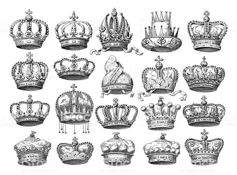 Crown Set Historic Symbols Of Monarchy And Rank Stock Vector Art & More Images Of 19th Century