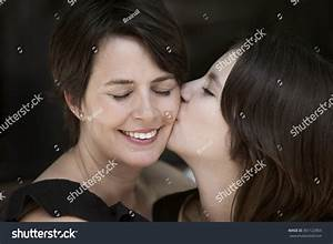 Happy Mother Daughter Kissing Stock Photo 361122803 ...