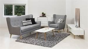 Couch Mit Sessel : garnitur kamma retro 3 sitzer sofa sessel stoff hellgrau ~ Markanthonyermac.com Haus und Dekorationen