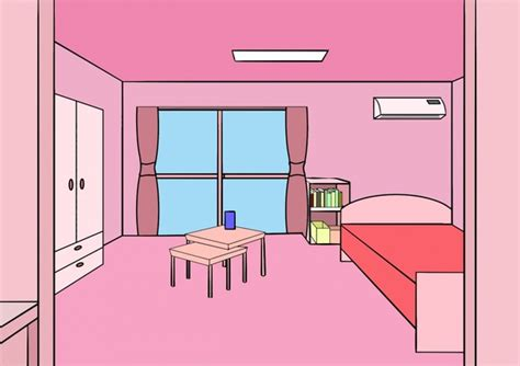 Bedroom decoration vector illustration with pink Free