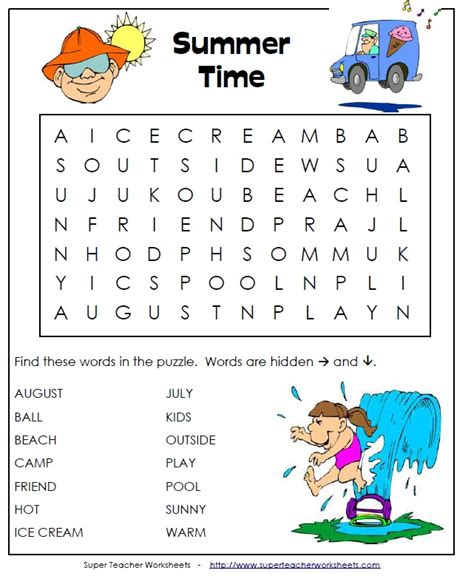 Are You Ready For Some Summer Fun? Super Teacher Worksheets Has Summer Puzzles, Activities