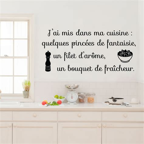 sticker citation j ai mis dans ma cuisine stickers citations fran 231 ais ambiance sticker