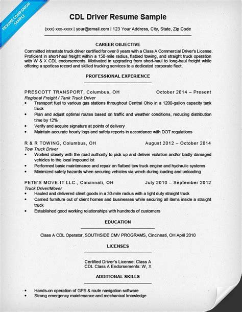 Cdl Driver Resume Sample & Writing Tips  Resume Companion
