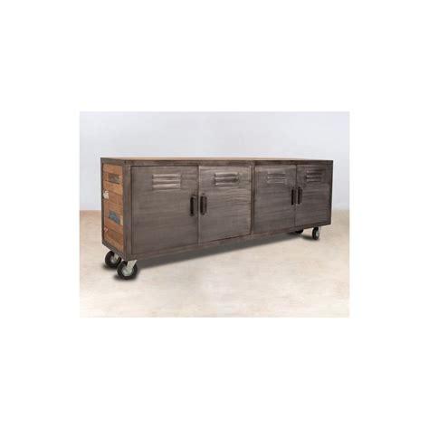 buffet meuble tv bois recycl 233 224 roulettes 4 portes m 233 talliques 200x45x77cm caravelle
