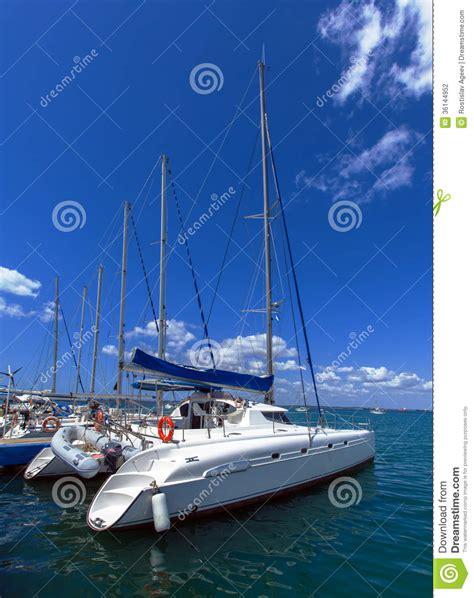 Catamaran Boat Cuba by Catamarans In Yacht Marine Cienfuegos Cuba Stock
