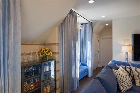 Beautiful Media Room Decor Features Window Seat Curtains