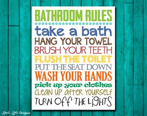 Bathroom Rules. Boys Bathroom Decor. Boys Bathroom Wall Art.