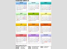 2019 Blank Printable Calendar with UK [United Kingdom