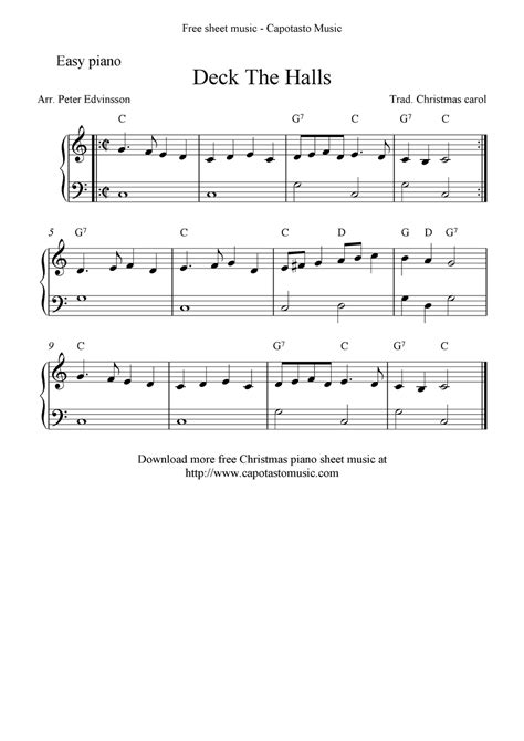 Deck The Halls Easy Piano deck the halls sheet music piano easy deck design and ideas