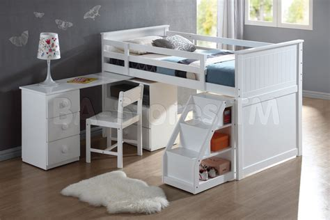 wyatt white loft bed unit with desk and chair bunk beds