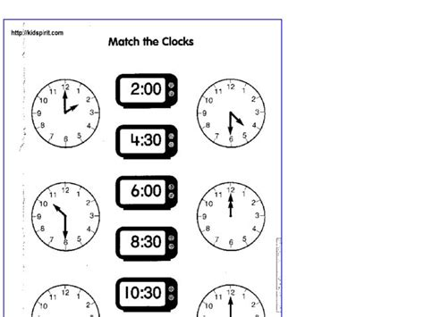 Time Worksheets Match Digital And Analogue Worksheets For All  Download And Share Worksheets