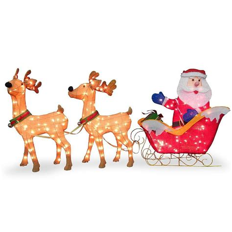 Santa Sleigh Outdoor Decoration by 3pc Tinsel Santa Sleigh Amp Reindeer Christmas Outdoor