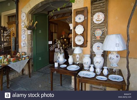souvenir shop with faience pottery at moustiers sainte stock photo royalty free image