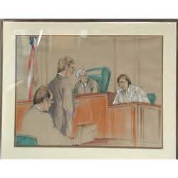 Marilyn Church, Courtroom Drawing 1, Ink and Pastel Drawing