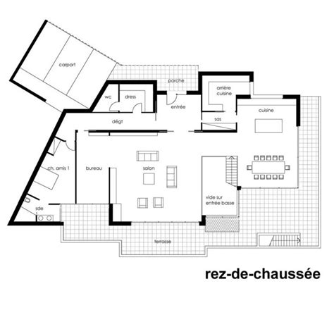 plan maison moderne toit terrasse