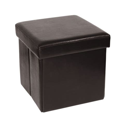 pouf coffre pliable en polyur 233 thane marron maisons du monde