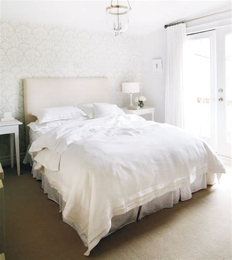 White Linen Bedding  Traditional  Bedroom  Style At Home