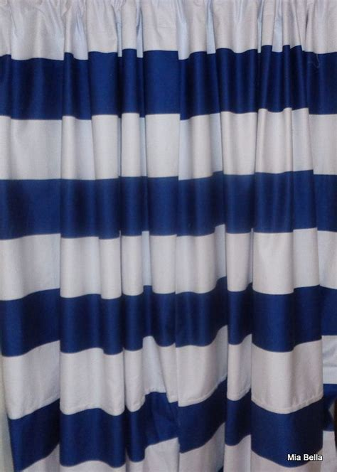 Navy Striped Curtain Panels by Navy Blue White Wide Horizontal Stripe Curtains Two
