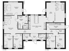 plan maison plain pied 4 chambres en u