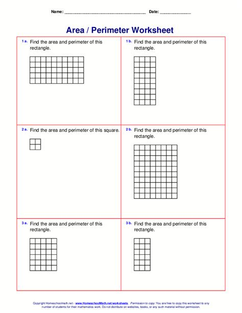 Area And Perimeter Worksheets (rectangles And Squares