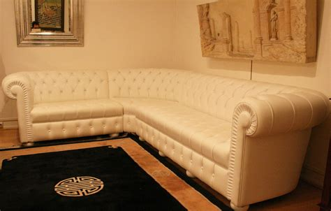 grand canap 233 d angle chesterfield en cuir blanc 4897 longfield 1880