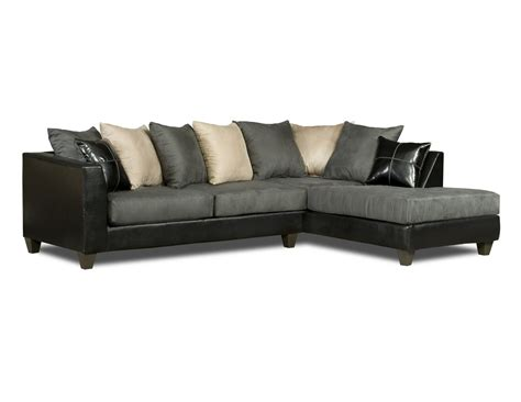 black gray white sectional sofa pillow back 4185