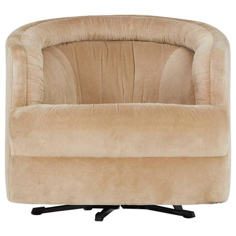 milo baughman style velvet swivel barrel chair attributed to steve for sale at 1stdibs