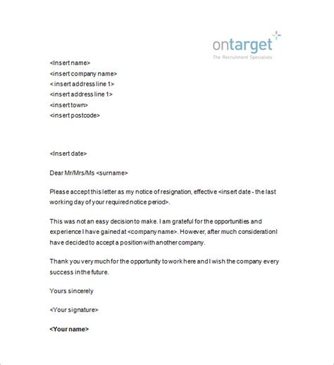 Bunch Ideas Of Resignation Notice Template 12 Free Word