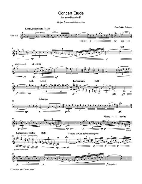 concert etude for horn in f sheet by esa pekka salonen horn 37442