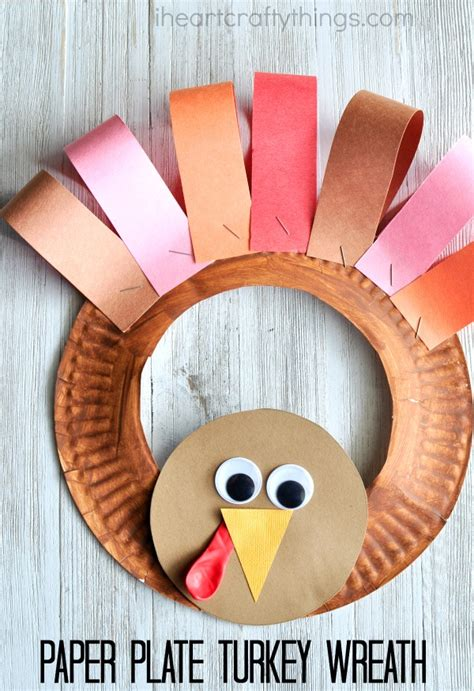 Paper Plate Thanksgiving Turkey Wreath  I Heart Crafty Things