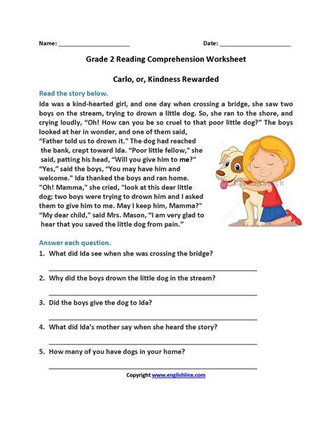 2nd Grade Printable Reading Comprehension Worksheets Worksheets For All  Download And Share