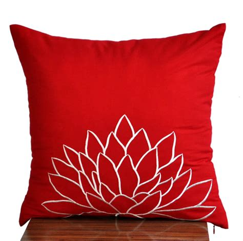 white lotus throw pillow coverdecorative pillow cover