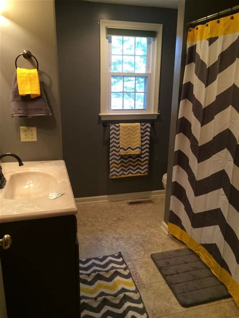 gray and yellow chevron bathroom or substitute the yellow for any color home country ideas
