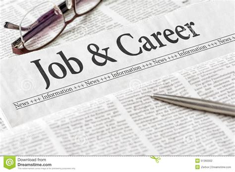 Newspaper With The Headline Job And Career Stock Photo