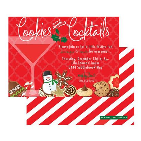 Cookies And Cocktails Holiday Christmas Invitation