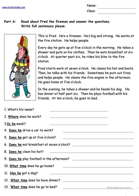Fred The Fireman  Reading Comprehension Worksheet  Free Esl Printable Worksheets Made By Teachers