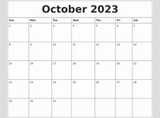 October 2023 Printable Calendar Templates